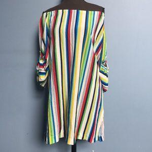 Vintage Stripe Off-Shoulder Swimsuit Cover-Up